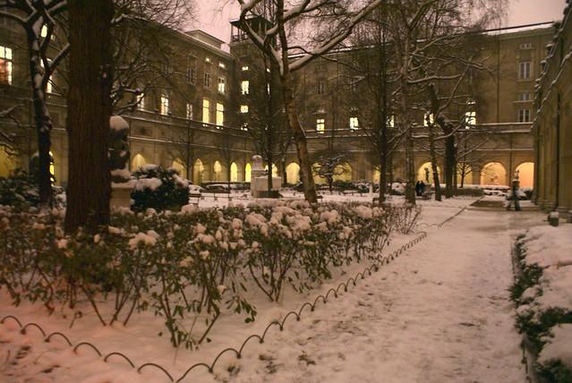 Jardin du Palais Saint Pierre sous la neige.