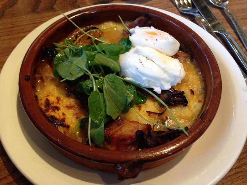 The wood grilled sage-garlic sausage with quinoa, arugula rabe, radish ...
