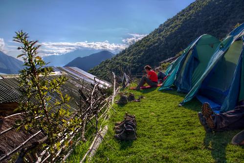 camping camp people peru landscape outdoor tent hdr marampata choquequiraotrek