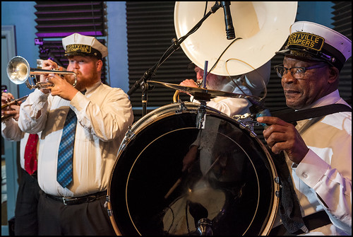 Doyle Cooper and Anthony Bennett of Storyville Stompers perform at the WWOZ Studio on day 1 of the Spring Pledge Drive. Photo by Ryan Hodgson-Rigsbee www.rhrphoto.com