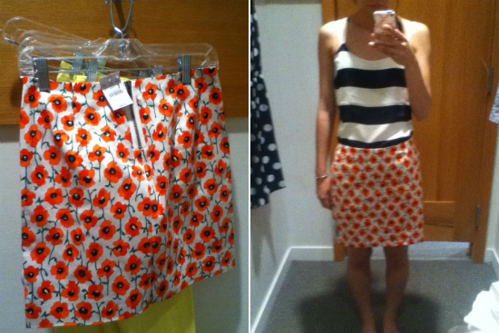 J.Crew Factory printed mini in neon persimmon