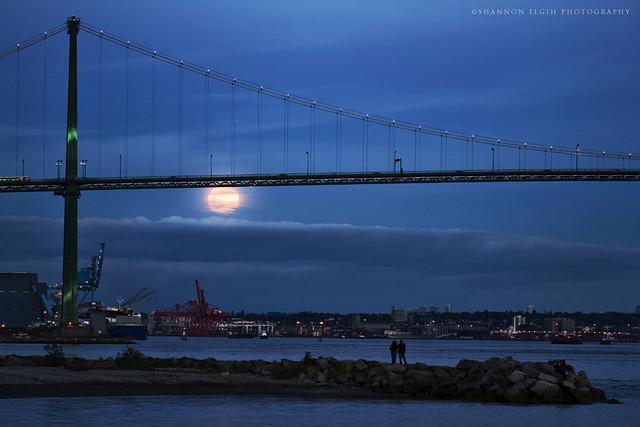 full moon rises over Lion's Gate Bridge