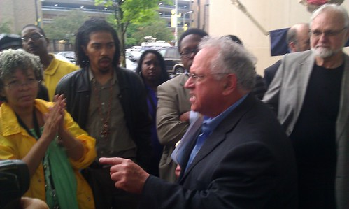 Atty. Jerome Goldberg reports on his questioning of the Emergency Manager Kevyn Orr outside the WSU Law School on June 10, Moratorium NOW! had called for the protest. (Photo: Abayomi Azikiwe)  by Pan-African News Wire File Photos