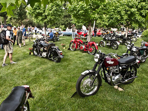 a small but expense fleet of motorcycles on display at the show