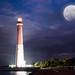 Super moon at Barnegat Light House NJ by Michael Ver Sprill