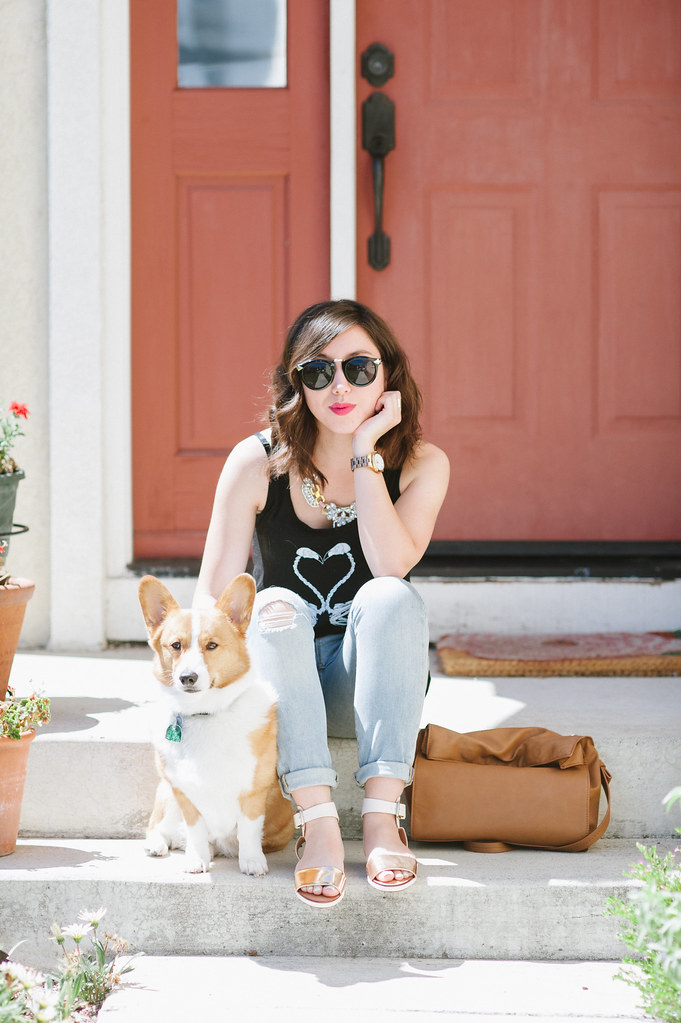 swaychic, flamingo tee, readytwowear, corgi, muscle tank, gap jeans, sf fashion blogger, fashion blog