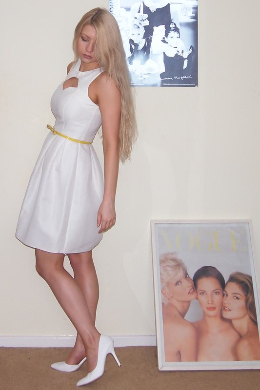 F&F, Tesco, White Dress, Cut Out, Lantern, White Shoes, Sam Muses