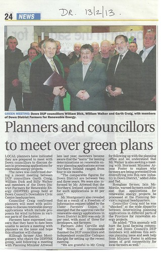 13th Feb 2013 Planners Pushed to meet Farmers by DUP following meeting organised by Cllr Cadogan Enright