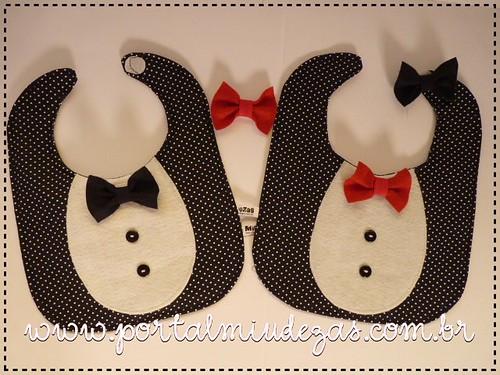 Babadores Black Tie com Troca de gravatas by miudezas_miudezas