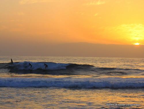 Surfers at sunset, Playa de Las Americas
