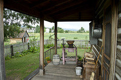 looking S across back porch - Tinsley Living Farm - Museum of the Rockies - 2013-07-08