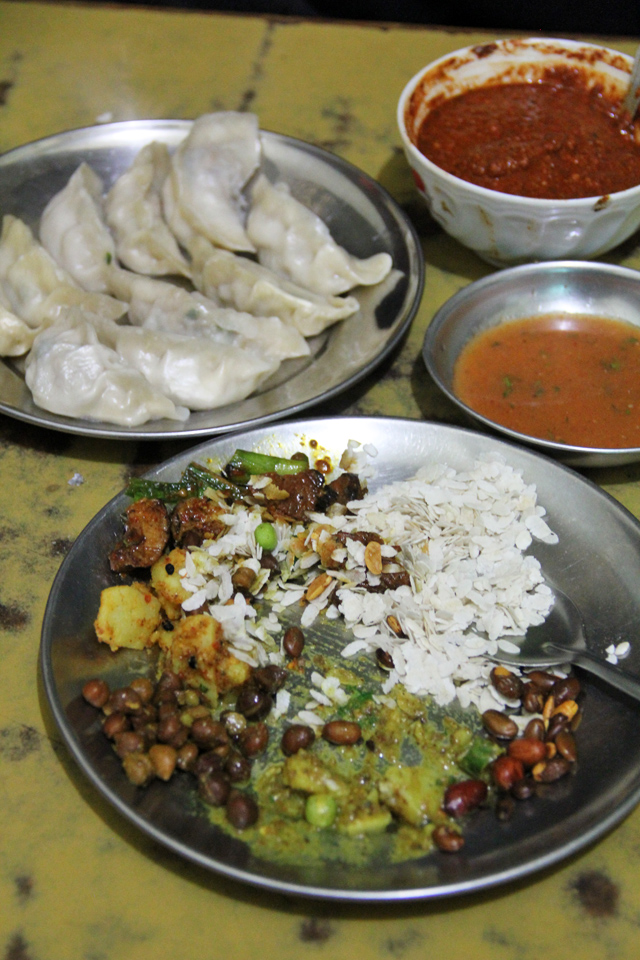 Newari food, and a plate of chicken momos as well