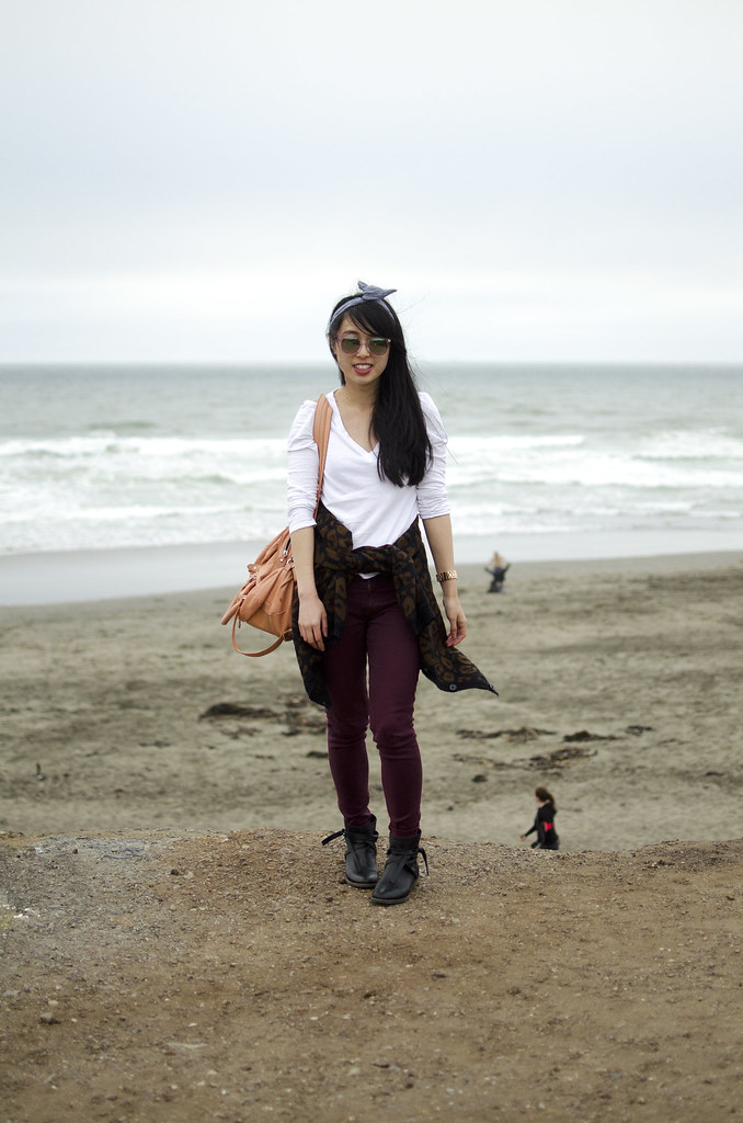 animal print, 7fam high shine skinny jeans, nastygal cardigan, matisse blazer booties, sf style, san francisco ocean beach, marc by marc jacobs satchel, lacoste long sleeve tee