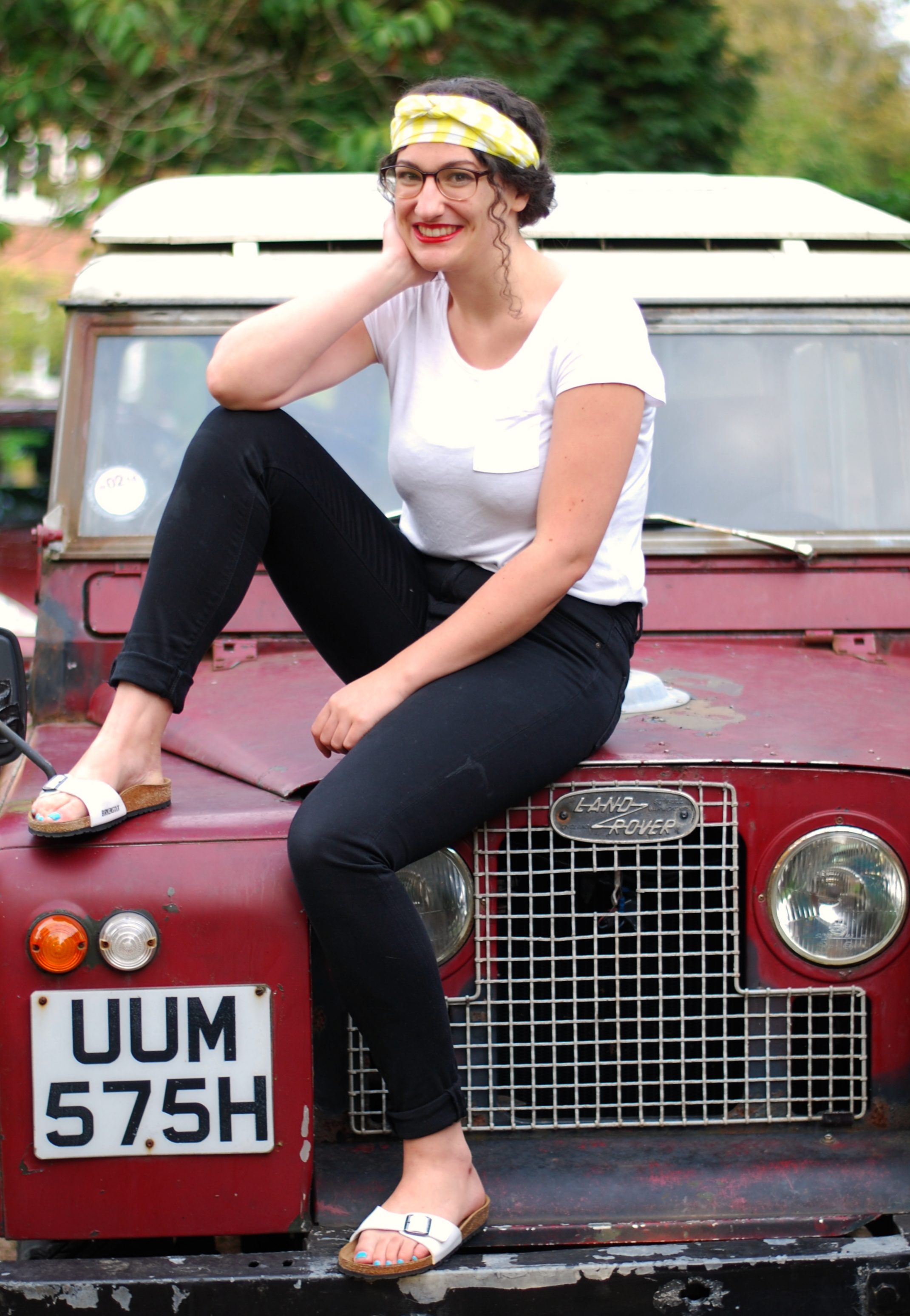 chambray and curls girl curly hair series 2a landrover classic car