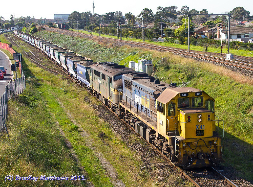 X41-A79 with #9318 up Apex quarry train to Brooklyn at Jacana (2/9/2013) by Bradley Matthews