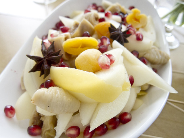 Spiced Pear Fruit Salad with Dried Figs & Apricots
