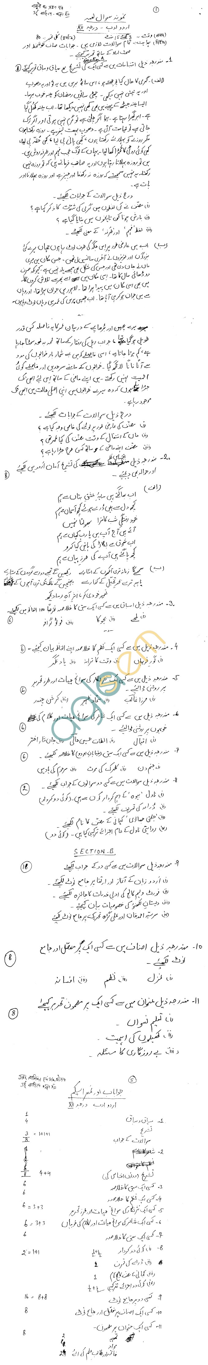 Rajasthan Board Class 12 Urdu Sahitya  Model Question Paper
