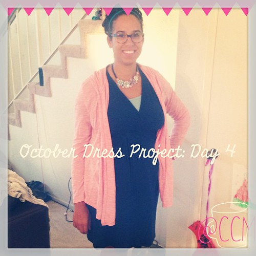 #ODP: Day 4. Added blue tank, pink cardigan and necklace. Wearing red Toms as well. #ABeautifulMess