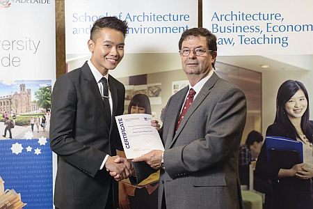 2012 Winner: Daryl Tian  Presented by Prof George Zillante (Head of School)