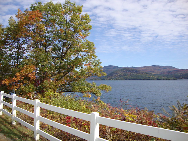 Lake George fence with autumn colors