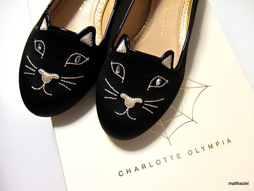 Charlotte Olympia Black Satin Kitty Flats