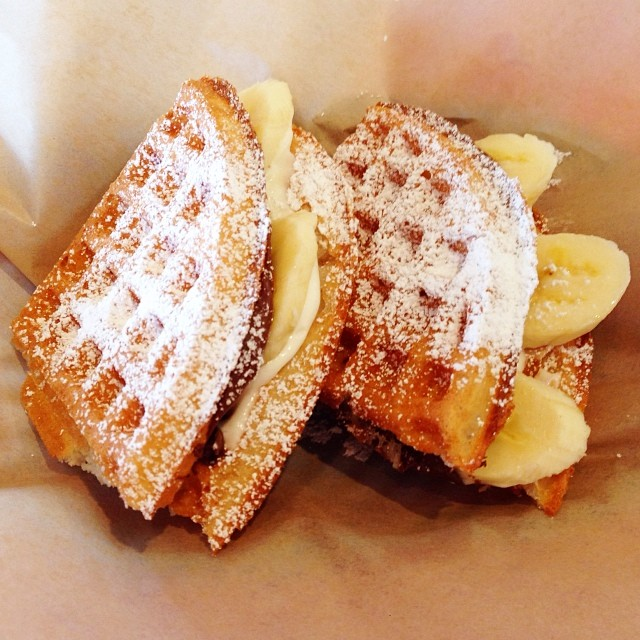Caution: Awesome food alert! Had to check out the new @bruxiewaffles in Costa Mesa today! Had the Nutella and bananas with sweet cream. It was my first time trying Nutella. Delicious! Go now! #bruxie #food #costamesa