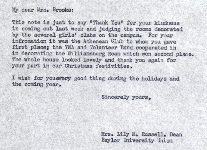 Excerpt from a 1953 letter written by Lily Russell to Mattie Brooks, thanking her for judging the decorating contest.
