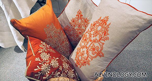 Cushions in a basket