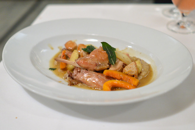 Cunij braised devil's gulch rabbit, roasted butternut squash, green apple, chestnut polenta