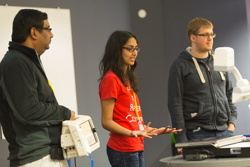 Me, @thisisneena and her father presenting ClEWS at #nhshd