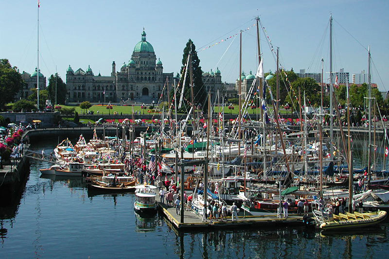 Classic Wooden Boat Show in the Inner Harbour, Victoria, Vancouver Island, British Columbia, Canada