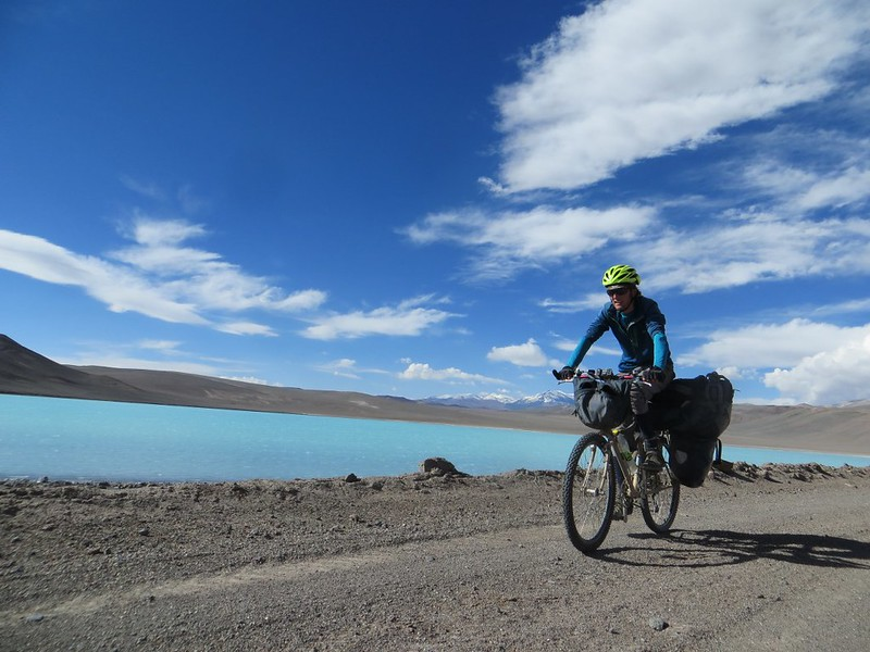 Cycling past Laguna Celeste, en route to Pissis