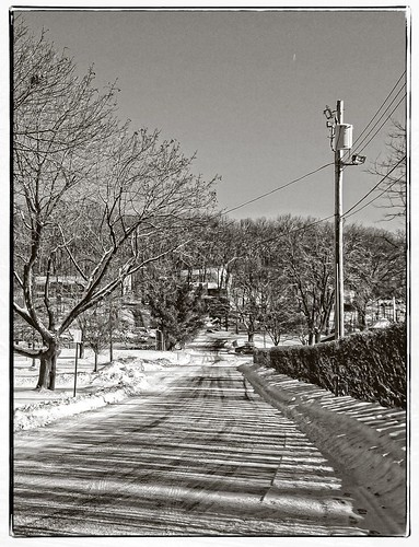 road park street trees winter blackandwhite snow shadows grain pole wires hedge brundage ononesoftware sigma1770os perfecteffects8