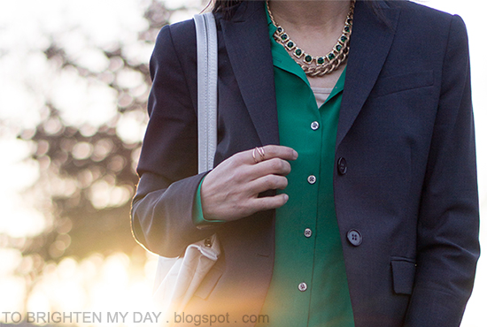 navy blazer, green silk shirt, layered necklaces