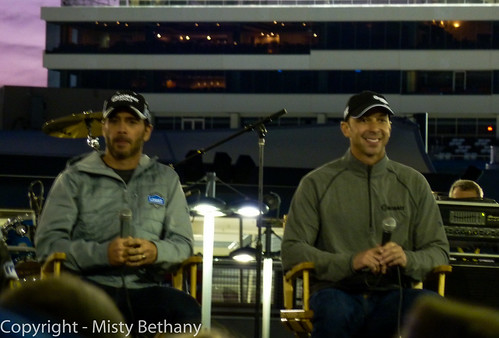 Jimmie Johnson and Chad Knaus talk to the crowd at the Kobalt Kampout