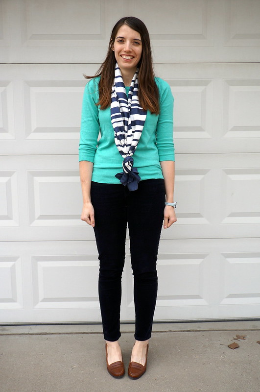 aqua sweater and stripe scarf with cords