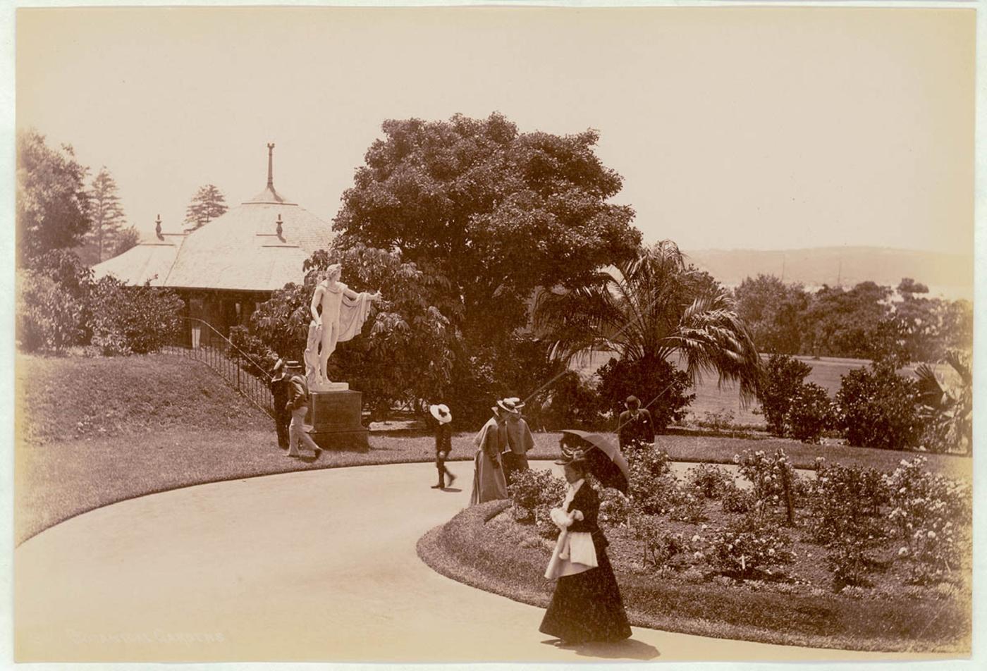 Botanical Gardens, Sydney [showing statue of Apollo Belvedere], c. 1900-1910