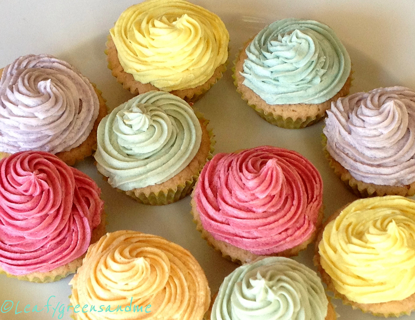 gluten free cupcakes with veggie colored frosting leafy