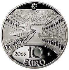 Italy Rossini 10 Euro coin reverse