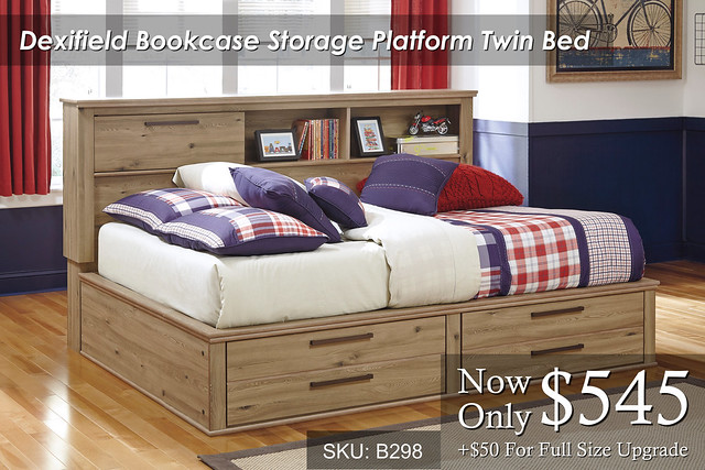 Dexifield Bookcase Platform Storage Bed
