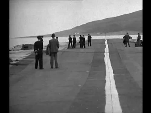 The 'Lily' Experimental floating airstrip at sea, 1945