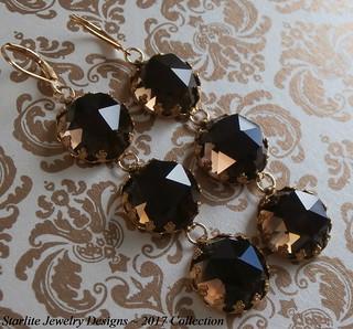 Smokey Quartz Earrings ~ ROSE CUT Vintage Gemstone Earrings ~ Golden Smokey Quartz ~ 1940s Rose Cut Gemstone Earrings ~ Smokey Quartz Earrings