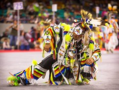 This Grass Dancer bows down low for the crowd. Grass dancing is a medicine dance that originated in the plains nations to symbolize the stomping down of tall prairie grasses for a new village or ceremony. #denvermarchpowwow #powwow #dance #ceremony #festi