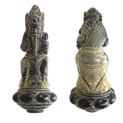 Balinese Hindu Rêsi Droṇa hermit sage keris hilt figurine carved from holy water buffalo horn. ⠀⠀⠀⠀⠀⠀⠀⠀⠀ The rêsi's holy spirit can be called upon to banish demons, to gain power and influence, as well as to help establish a profitable business. ⠀⠀⠀⠀⠀⠀⠀⠀⠀