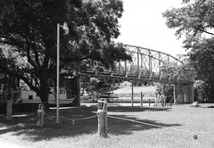 Abandoned Through Truss Bridge over Guadalupe River, South of I-10, Seguin, Texas 1306031134BW