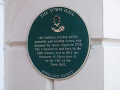 Photo of Town Hall, Ripon and James Wyatt green plaque