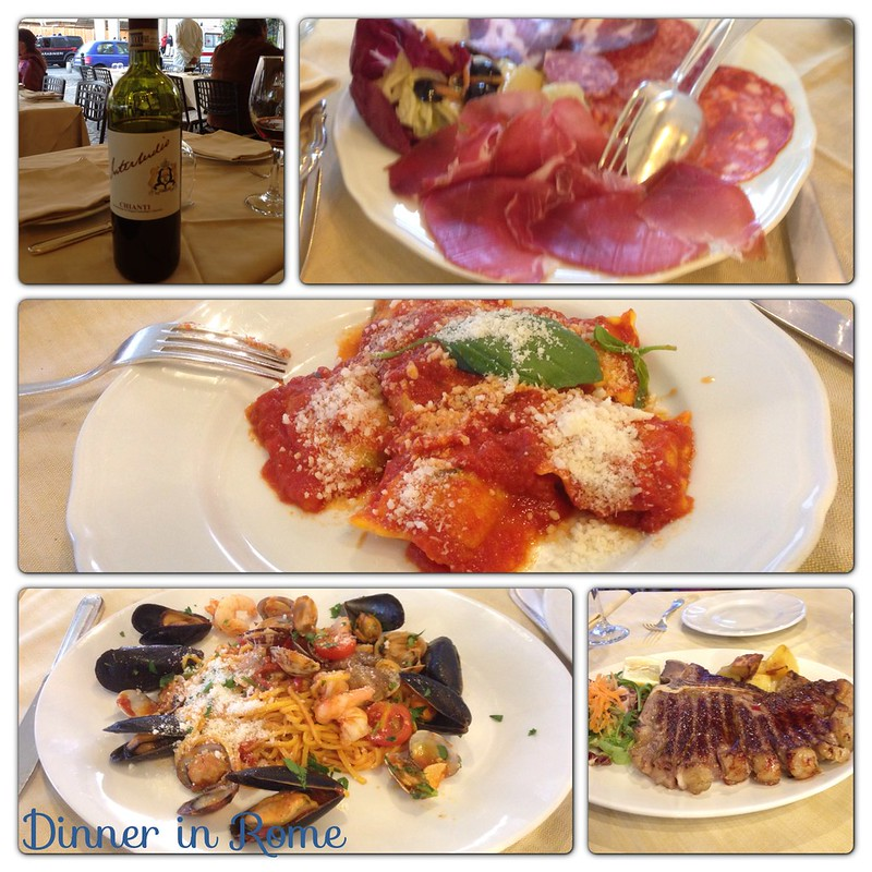 Wine, Salami, Reviori, seafood spaghetti, T-Bone, Rome, Italy
