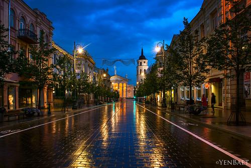 Vilnius - Rain on Gediminas Avenue, Vilnius Cathedral