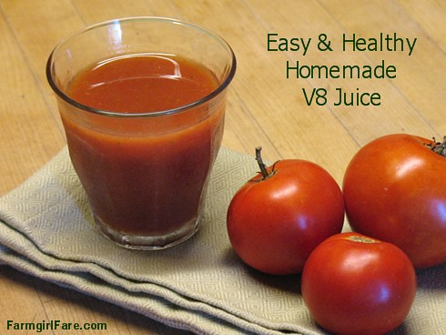 Easy Homemade V8 Juice (Vegetable Tomato Juice) - FarmgirlFare.com