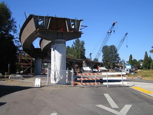 P&W bridge, trolley bridge, cranes
